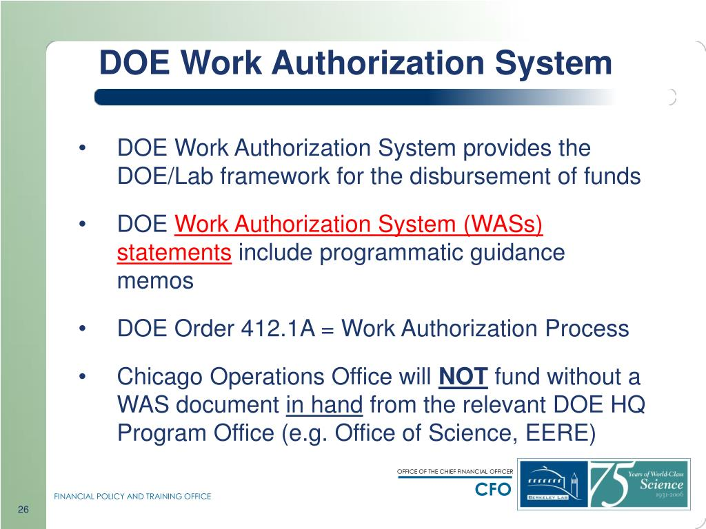 DOE Work Authorization System