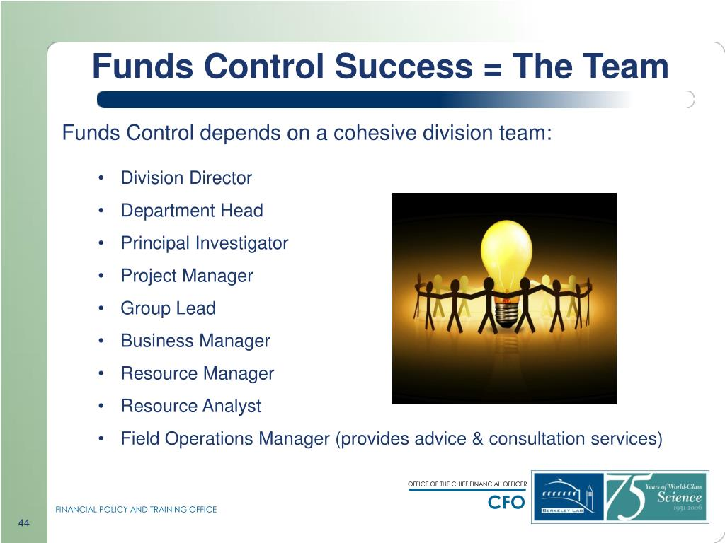Funds Control Success = The Team