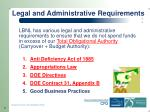 legal and administrative requirements