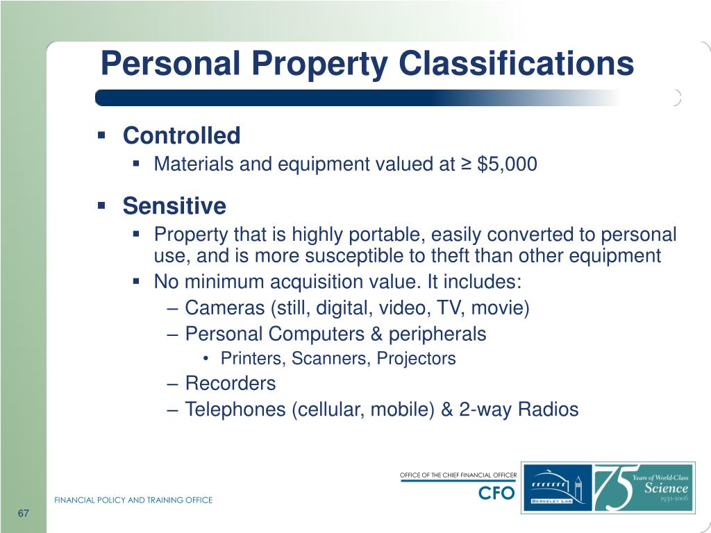 Personal Property Classifications