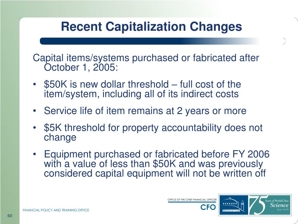 Recent Capitalization Changes