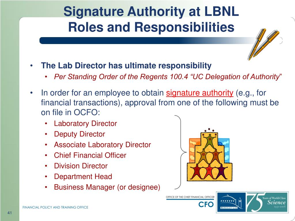 Signature Authority at LBNL