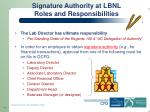 signature authority at lbnl roles and responsibilities