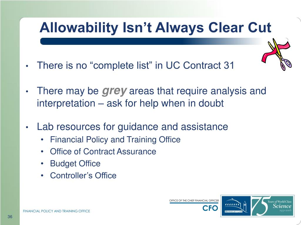 Allowability Isn't Always Clear Cut