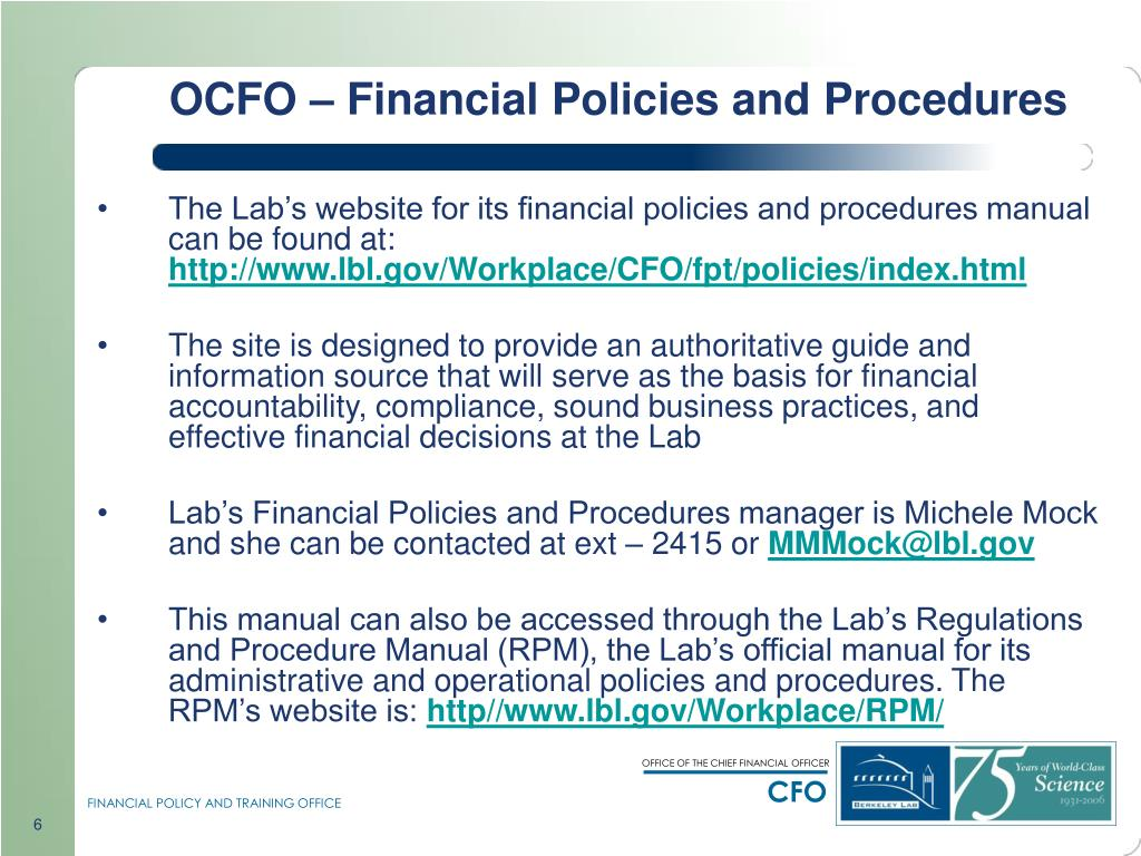 OCFO – Financial Policies and Procedures