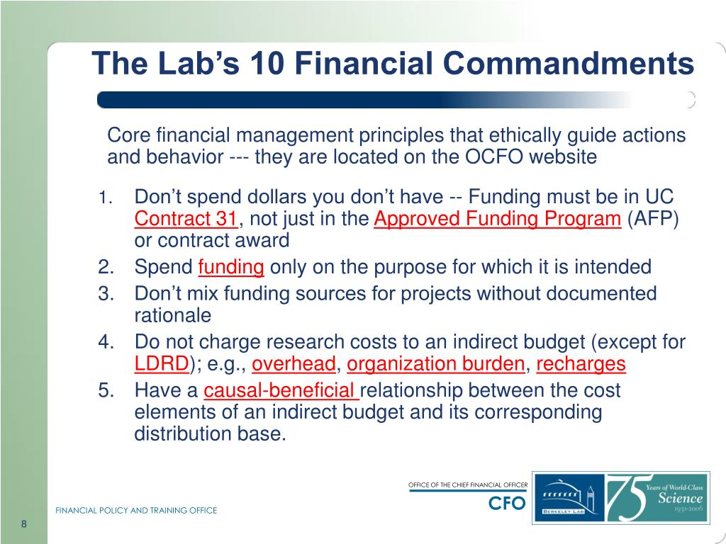 The Lab's 10 Financial Commandments
