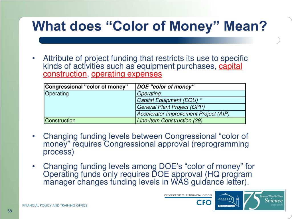 "What does ""Color of Money"" Mean?"