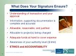 what does your signature ensure
