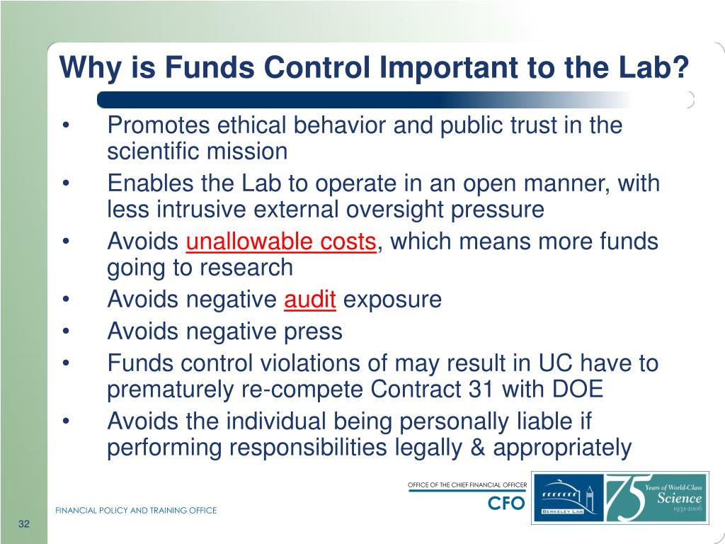 Why is Funds Control Important to the Lab?