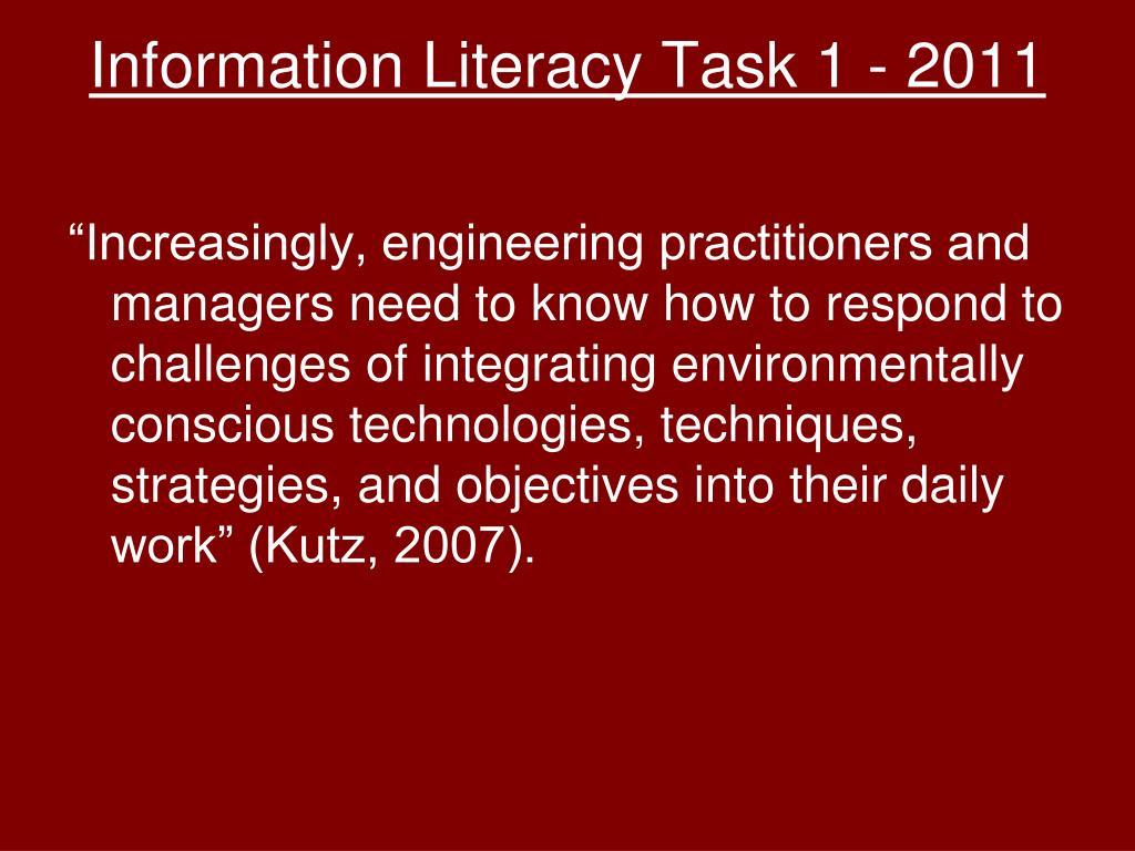Information Literacy Task 1 - 2011