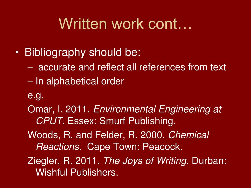 Written work cont…