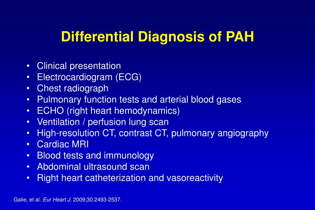 Differential Diagnosis of PAH
