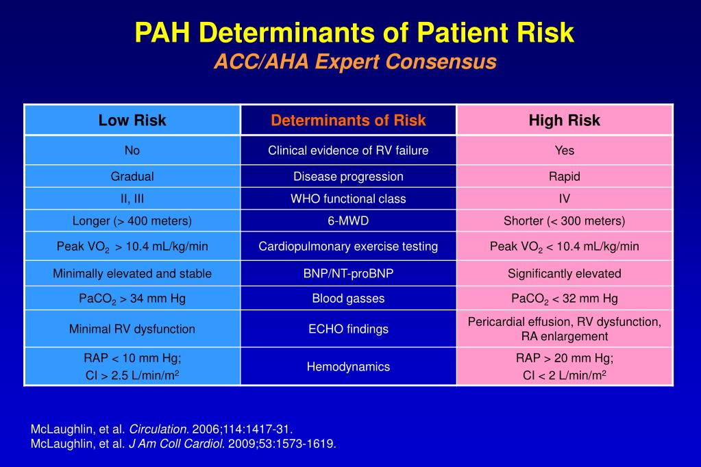 PAH Determinants of Patient Risk