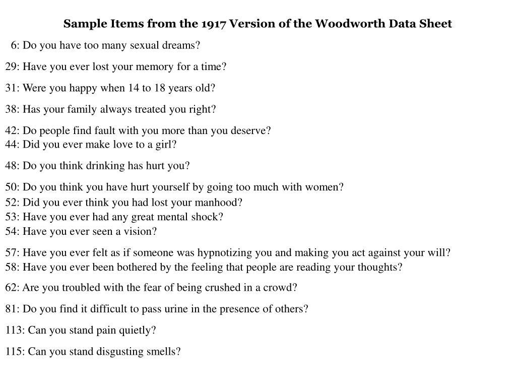 Sample Items from the 1917 Version of the Woodworth Data Sheet
