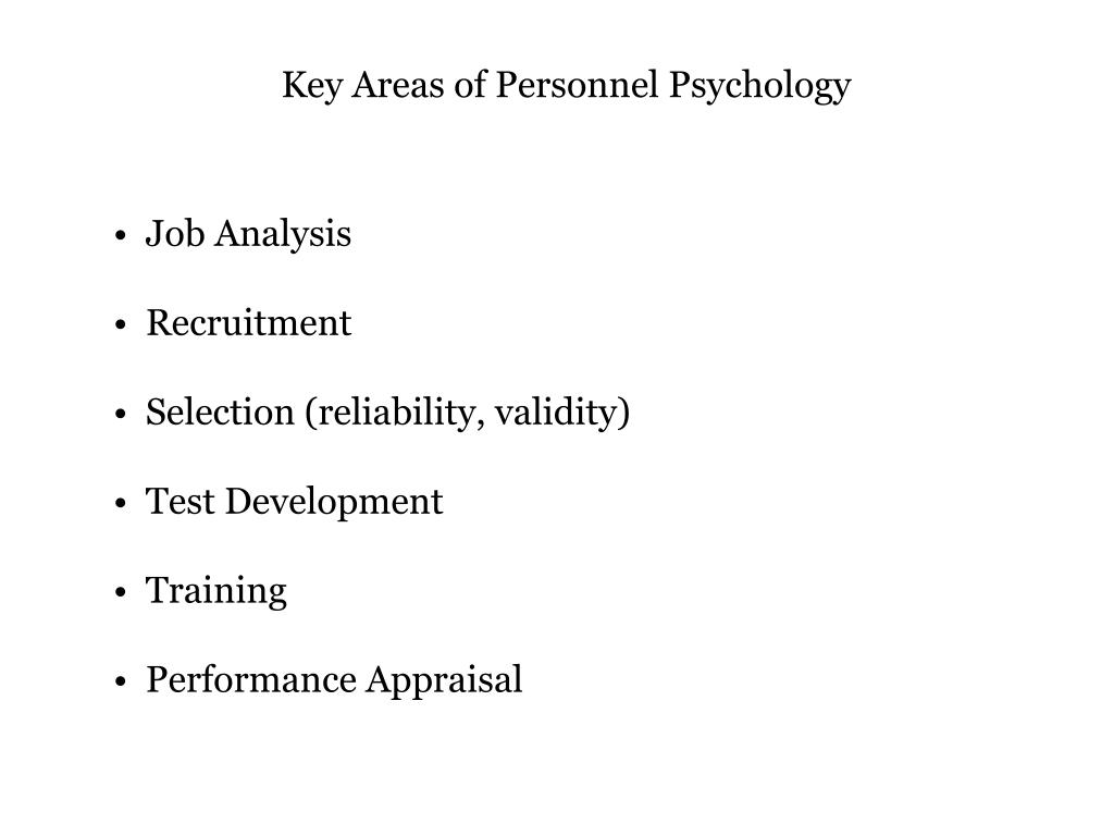 Key Areas of Personnel Psychology