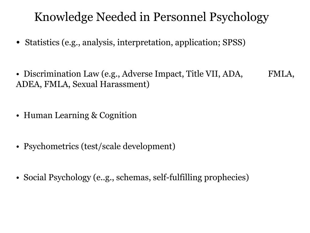 Knowledge Needed in Personnel Psychology