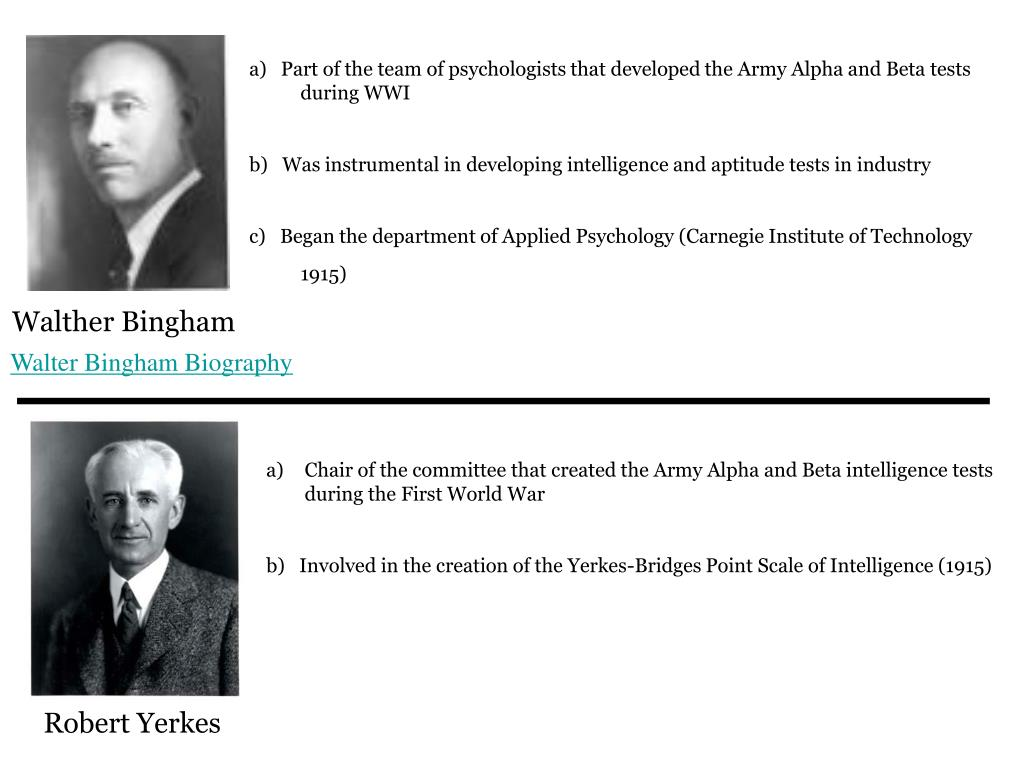 a)   Part of the team of psychologists that developed the Army Alpha and Beta tests during WWI