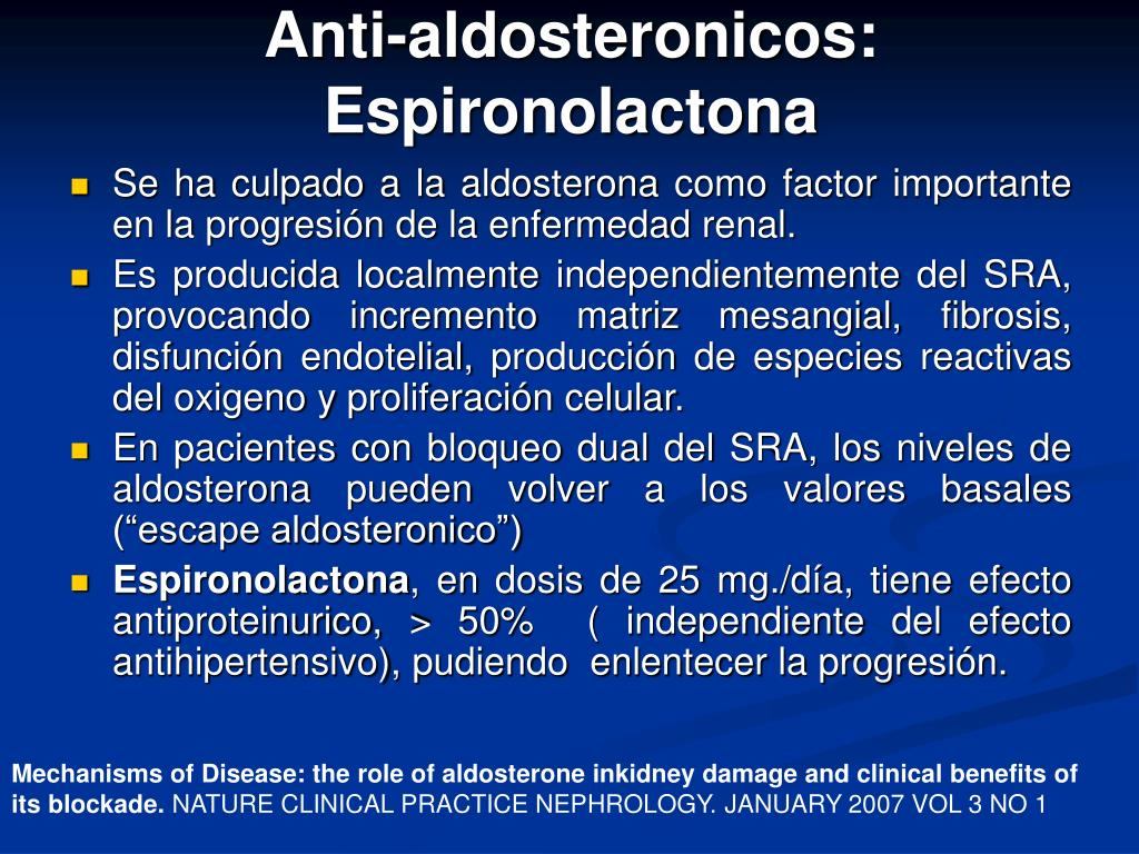 Anti-aldosteronicos: Espironolactona