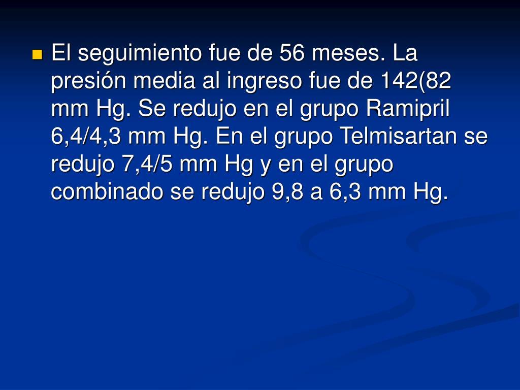 El seguimiento fue de 56 meses. La presión media al ingreso fue de 142(82 mm Hg. Se redujo en el grupo Ramipril 6,4/4,3 mm Hg. En el grupo Telmisartan se redujo 7,4/5 mm Hg y en el grupo combinado se redujo 9,8 a 6,3 mm Hg.