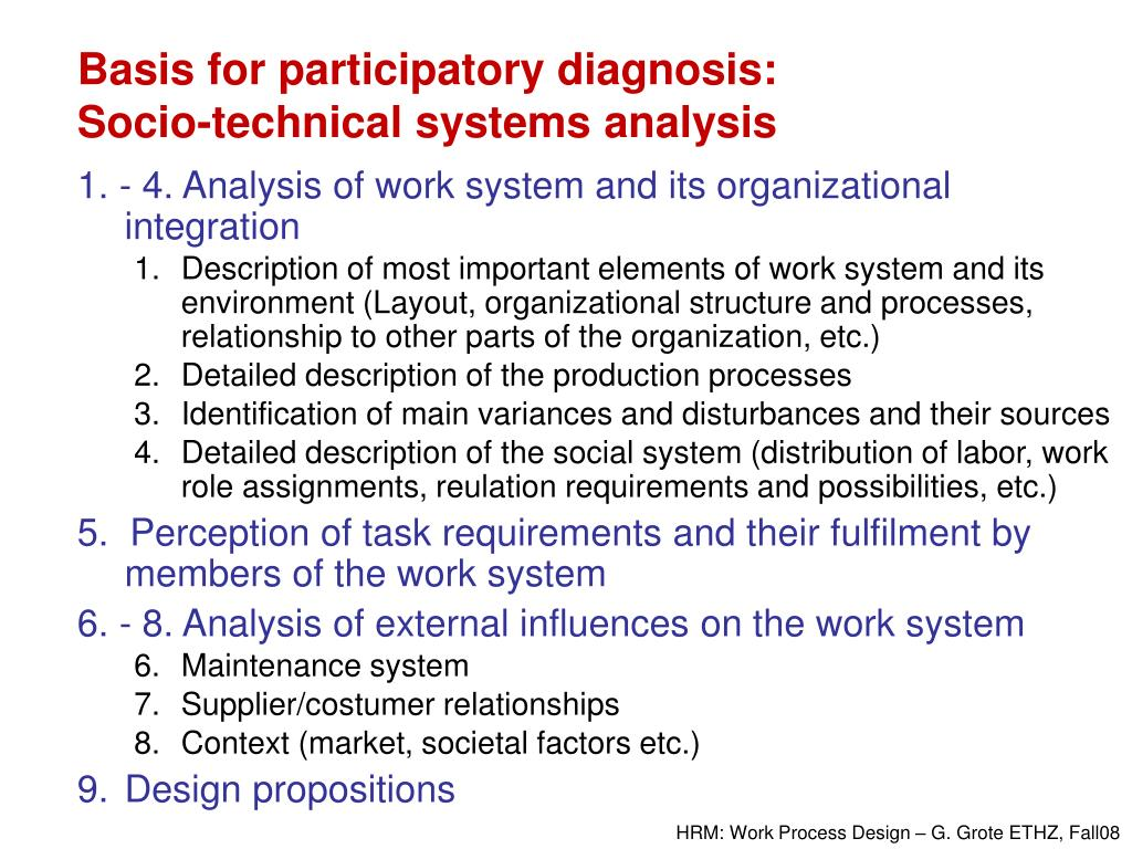 Basis for participatory diagnosis: