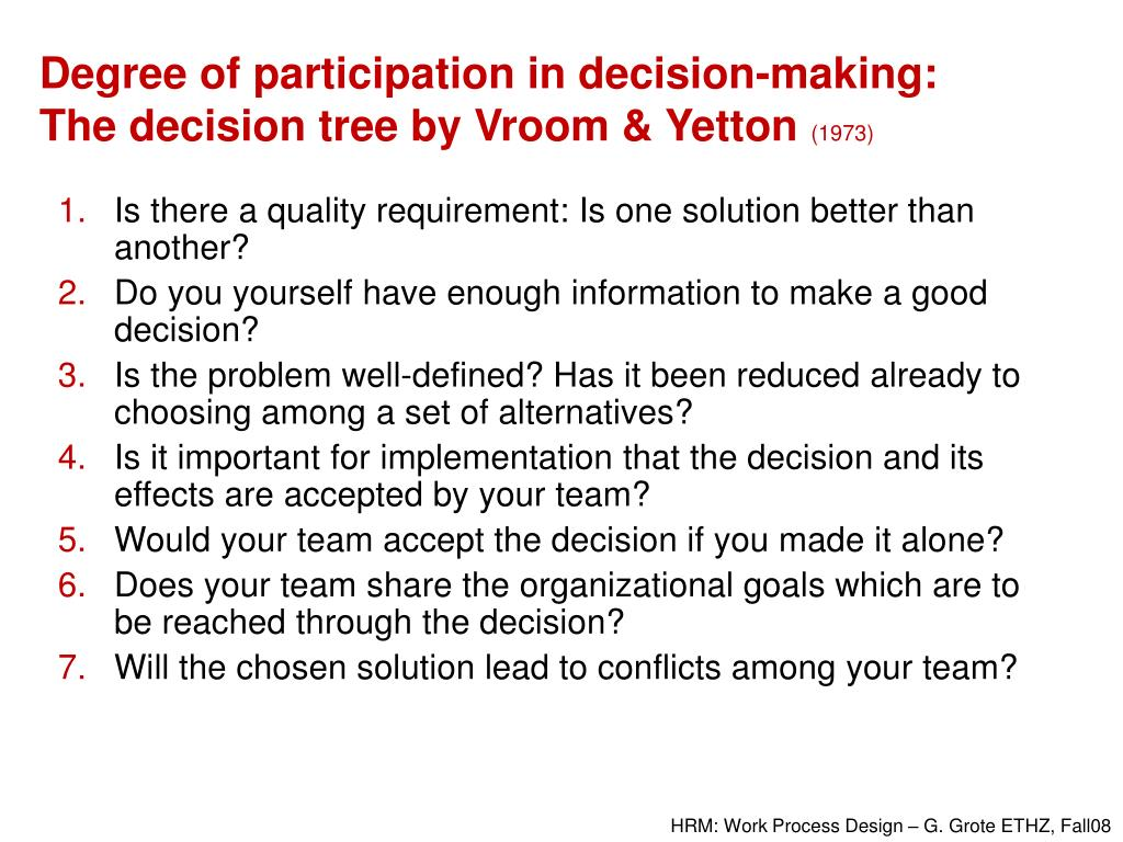 Degree of participation in decision-making: