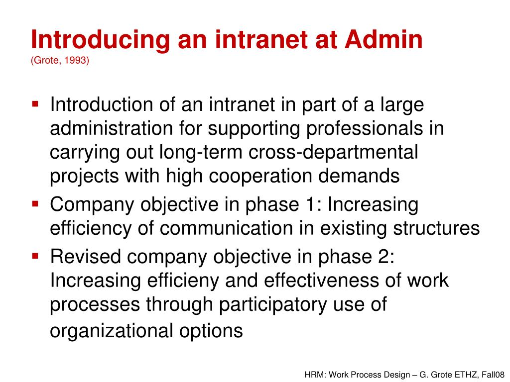 Introducing an intranet at Admin
