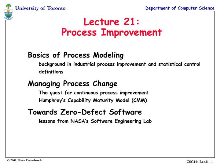 Lecture 21 process improvement