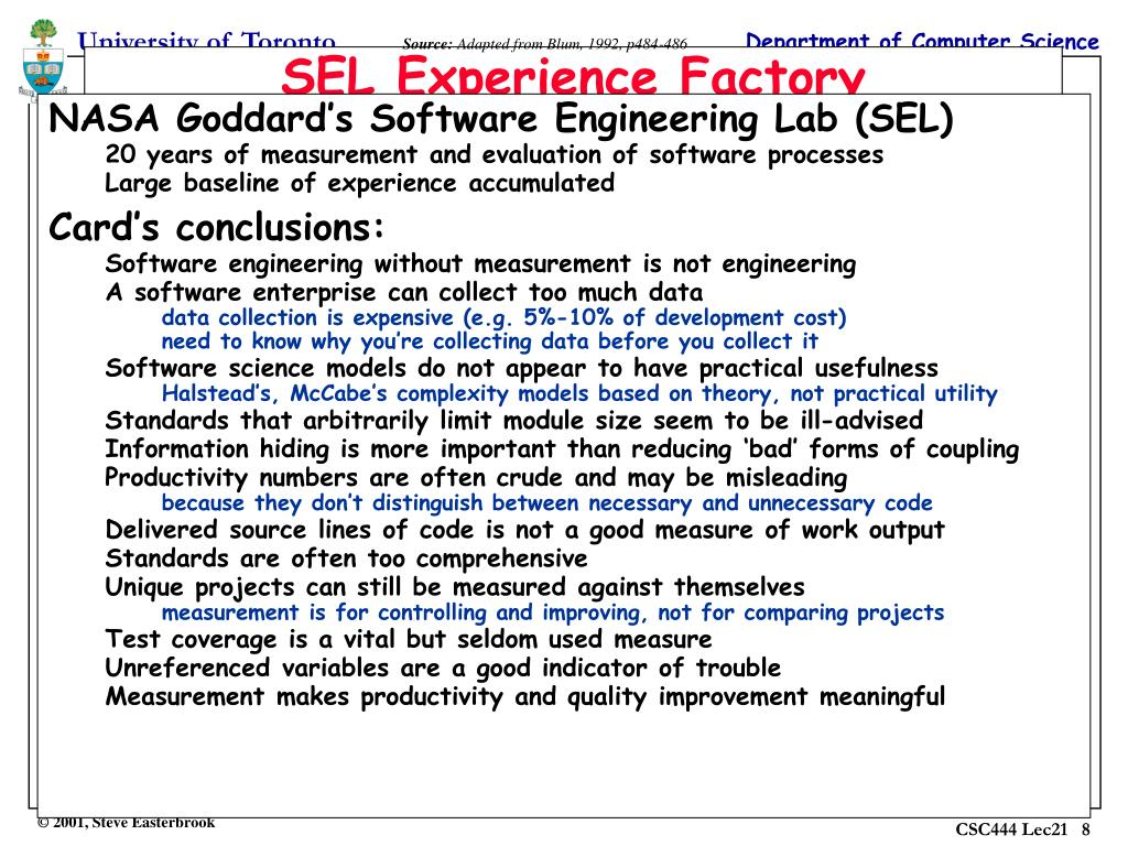 NASA Goddard's Software Engineering Lab (SEL)