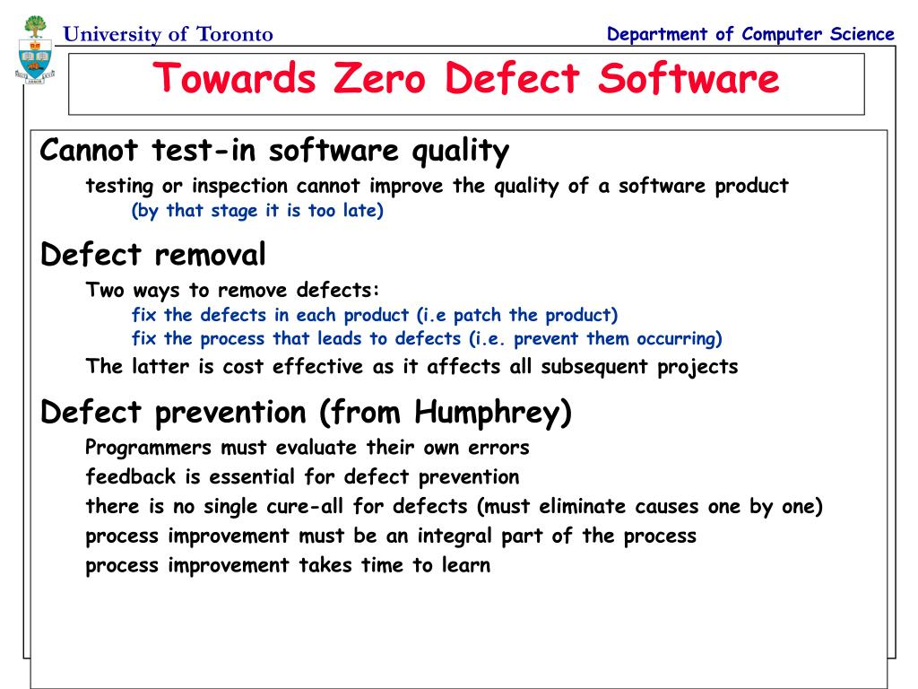 Cannot test-in software quality