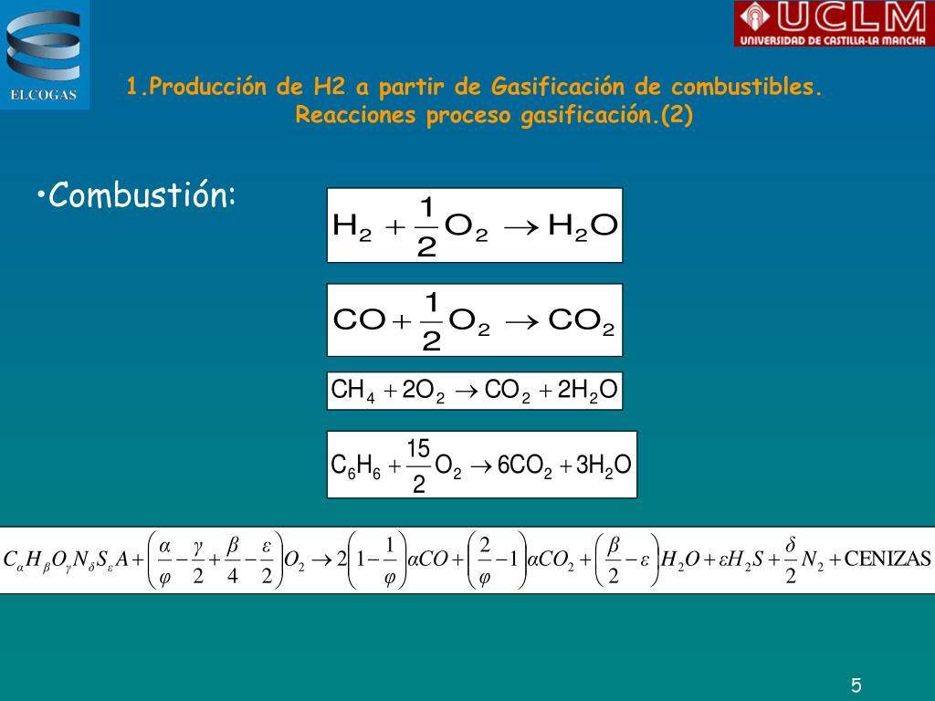 1.Producción de H2 a partir de Gasificación de combustibles.