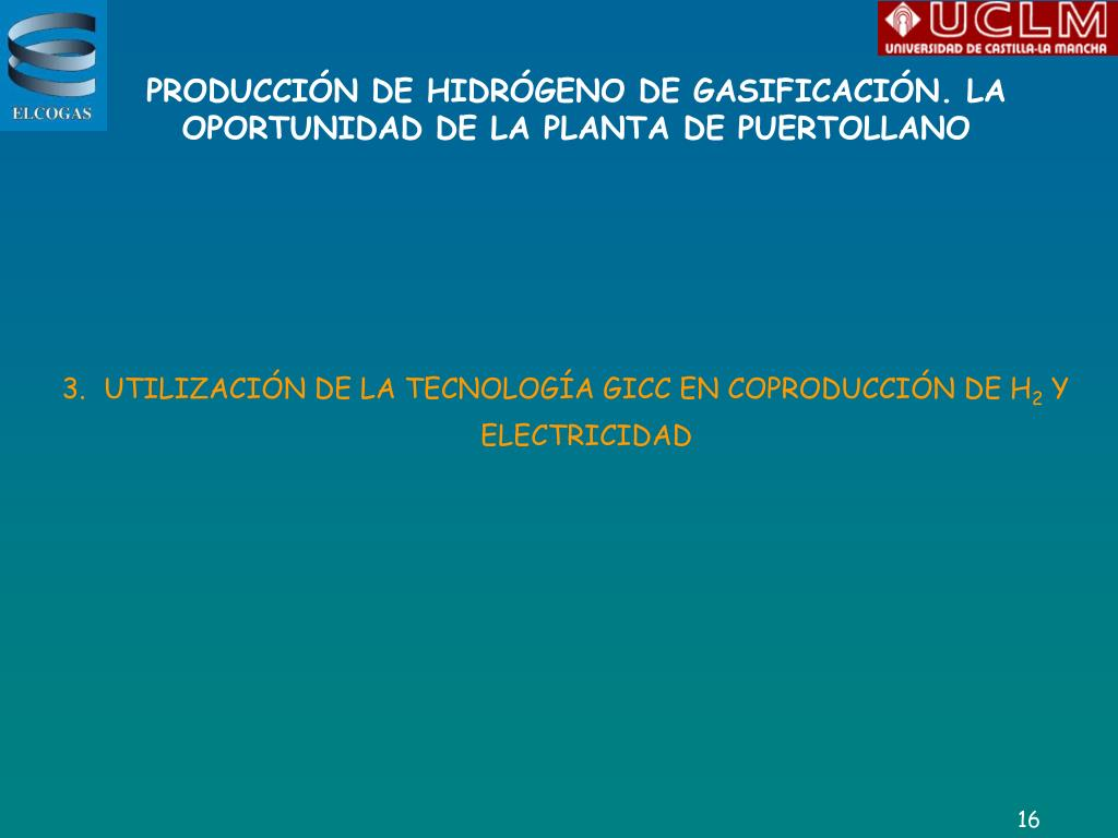 PRODUCCIÓN DE HIDRÓGENO DE GASIFICACIÓN.