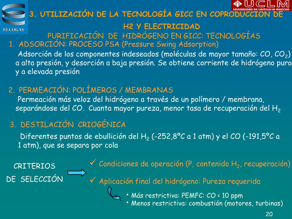 UTILIZACIÓN DE LA TECNOLOGÍA GICC EN COPRODUCCIÓN DE H2 Y ELECTRICIDAD