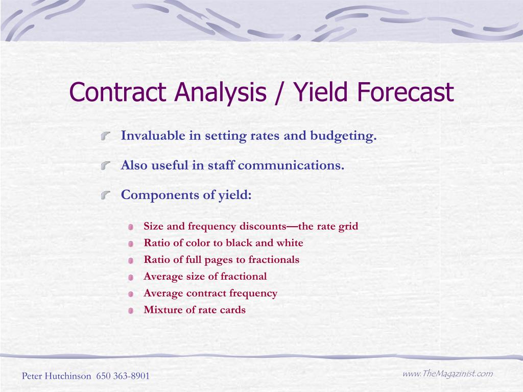Contract Analysis / Yield Forecast