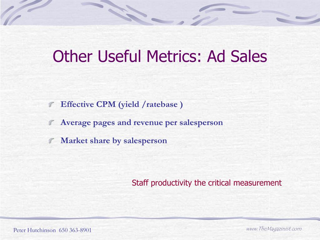 Other Useful Metrics: Ad Sales