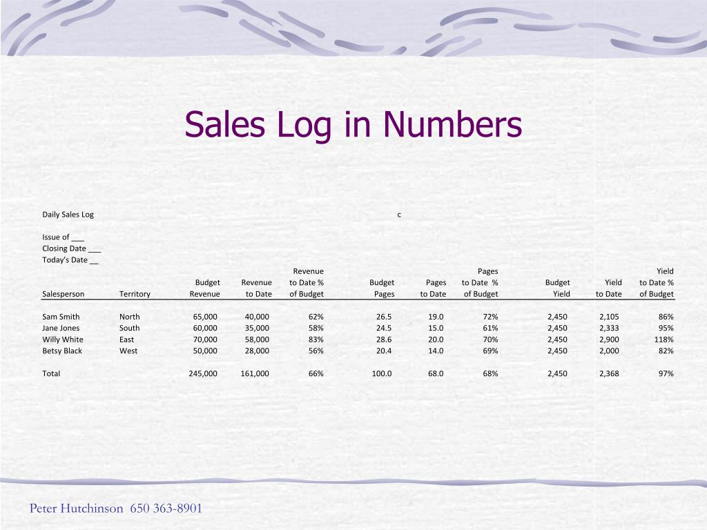 Sales Log in Numbers
