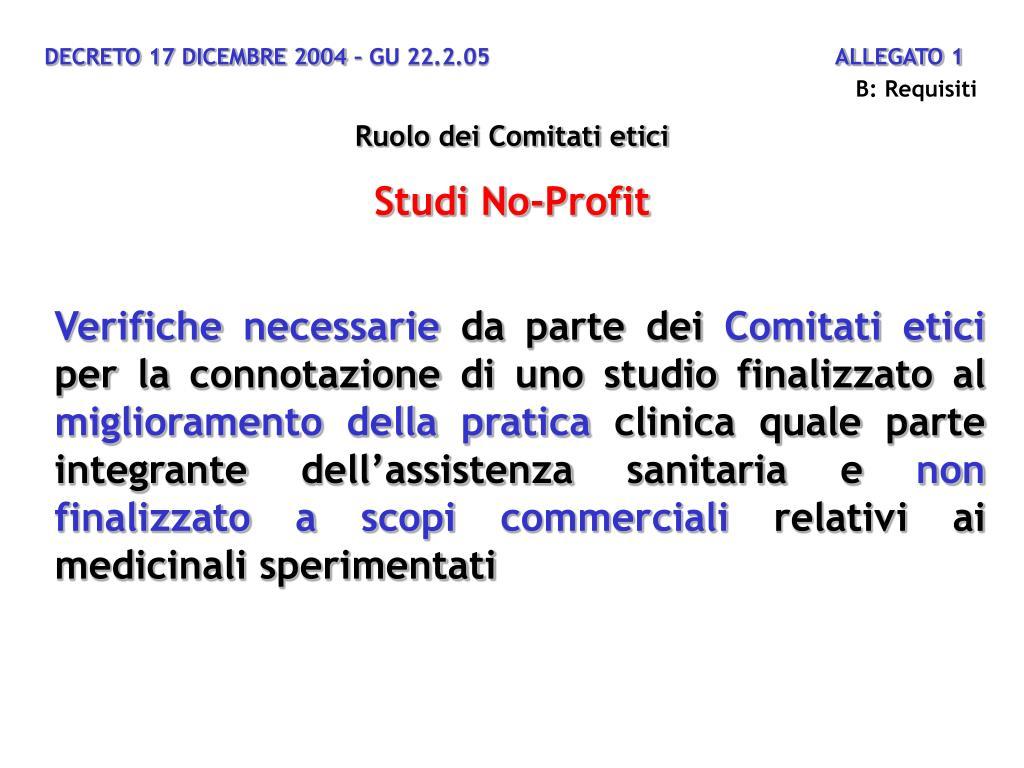 DECRETO 17 DICEMBRE 2004 – GU 22.2.05                                                  ALLEGATO 1