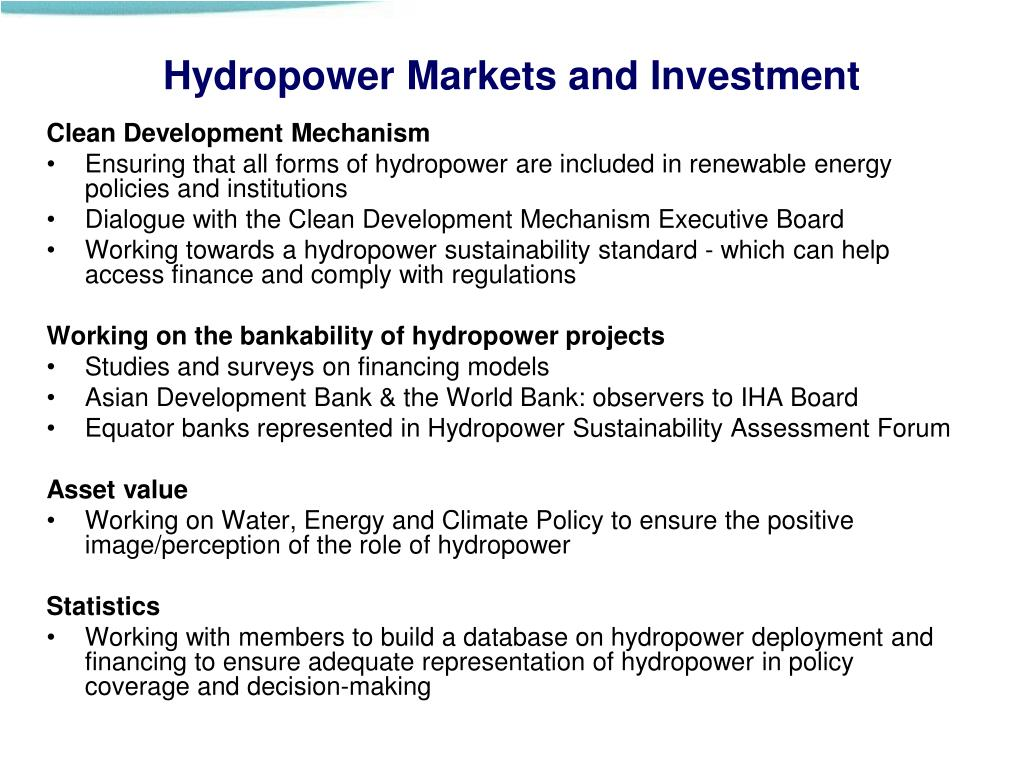 Hydropower Markets and Investment