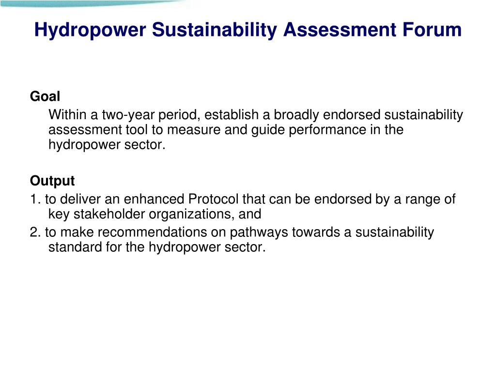 Hydropower Sustainability Assessment Forum