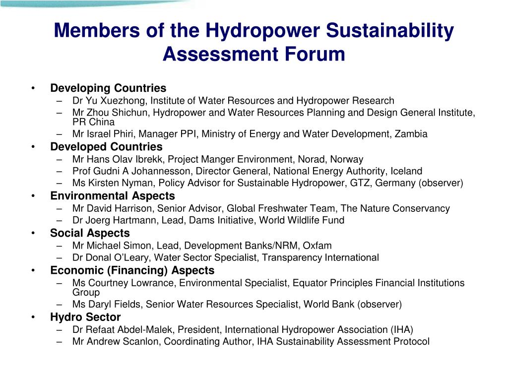 Members of the Hydropower Sustainability Assessment Forum