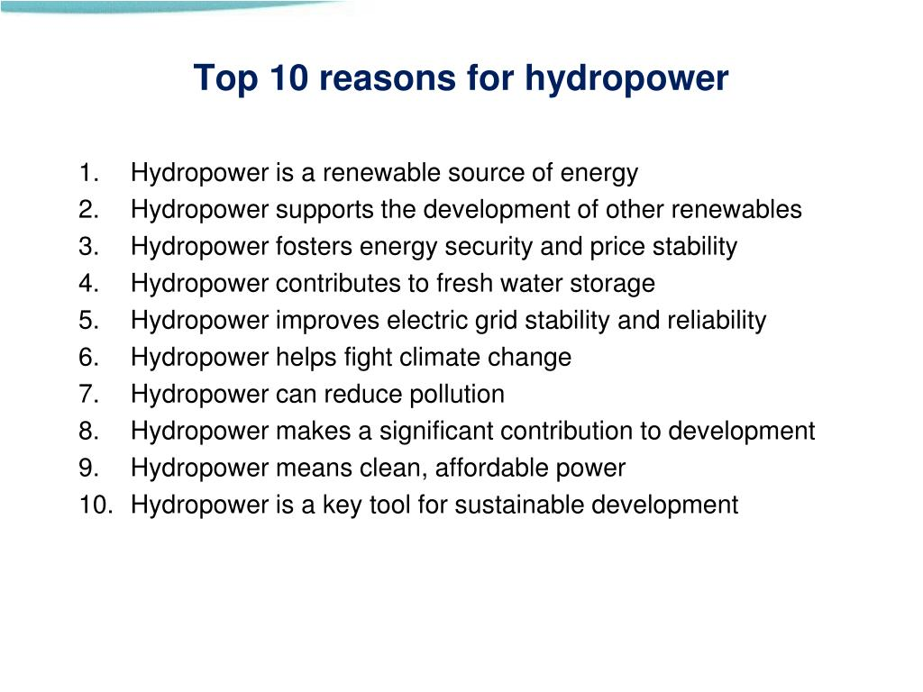 Top 10 reasons for hydropower