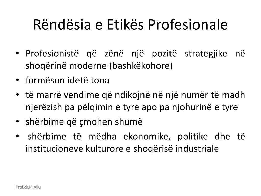 Rëndësia e Etikës Profesionale