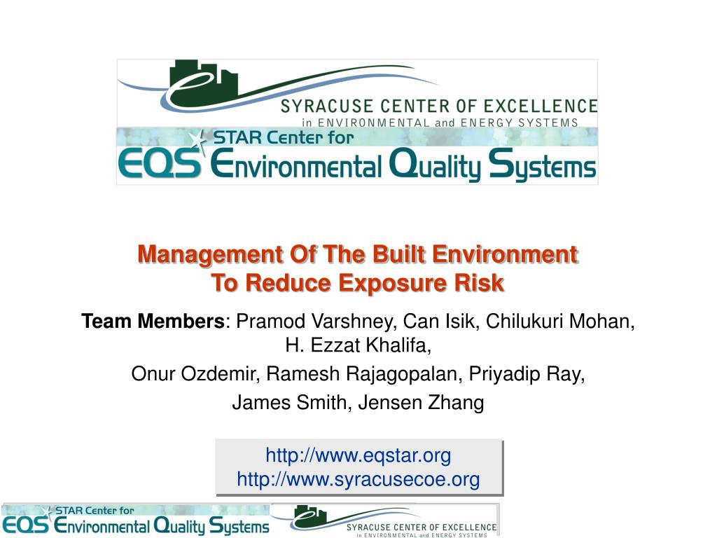management of the built environment to reduce exposure risk