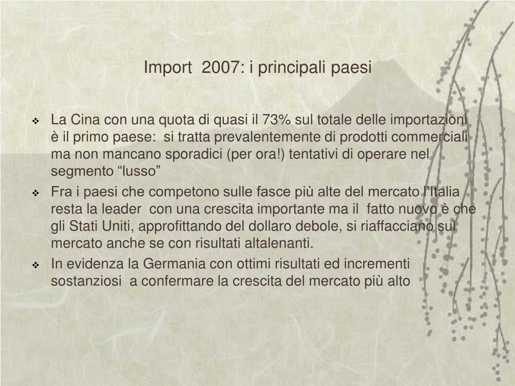 Import  2007: i principali paesi