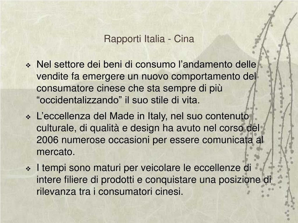 Rapporti Italia - Cina
