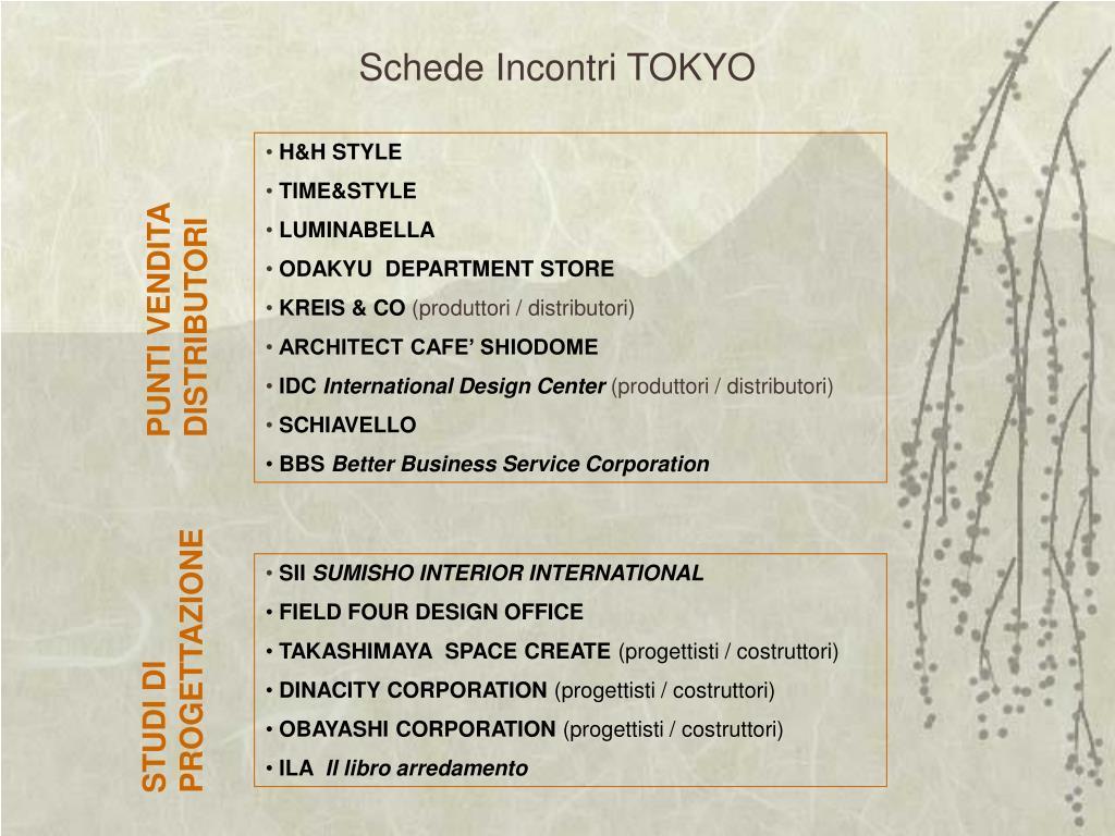 Schede Incontri TOKYO