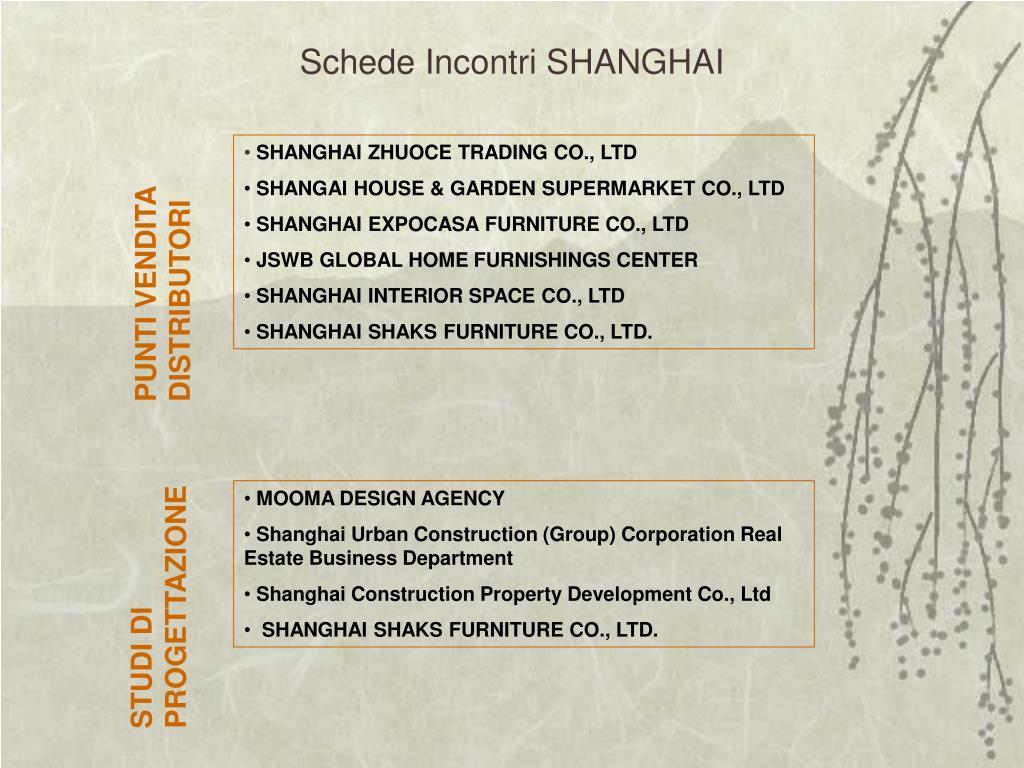 Schede Incontri SHANGHAI