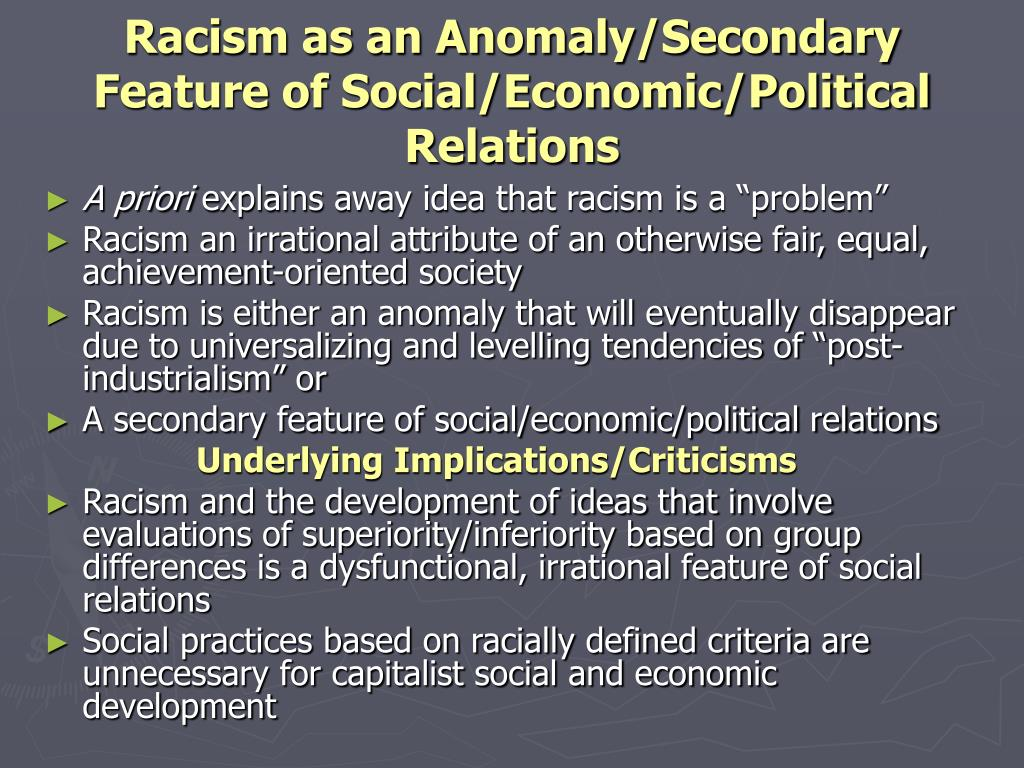 the evolution of racial inequality Racism exists when one ethnic group or historical collectivity dominates, excludes, or seeks to eliminate another on the basis of differences that it believes are.