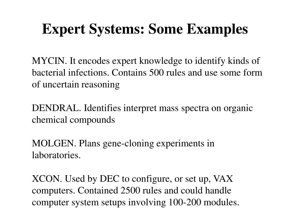 Expert Systems: Some Examples