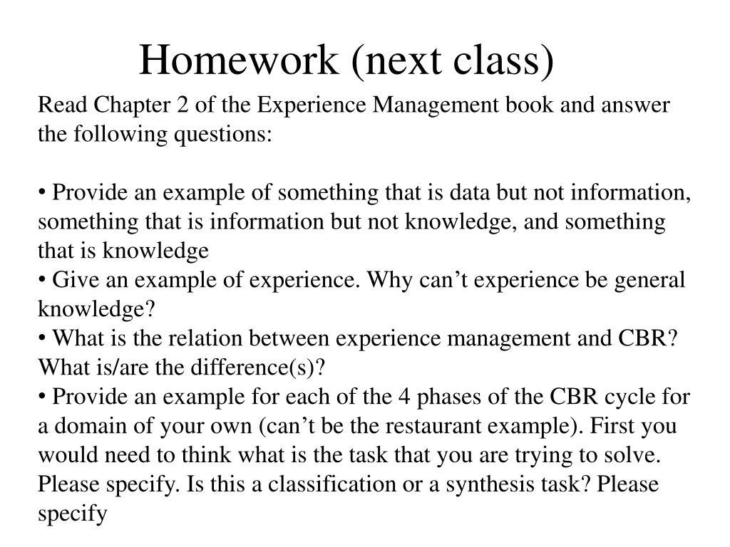 Homework (next class)
