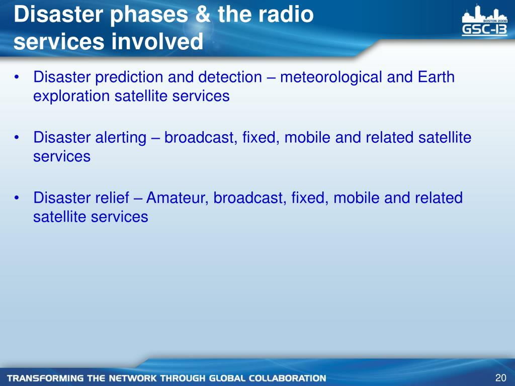 Disaster phases & the radio services involved